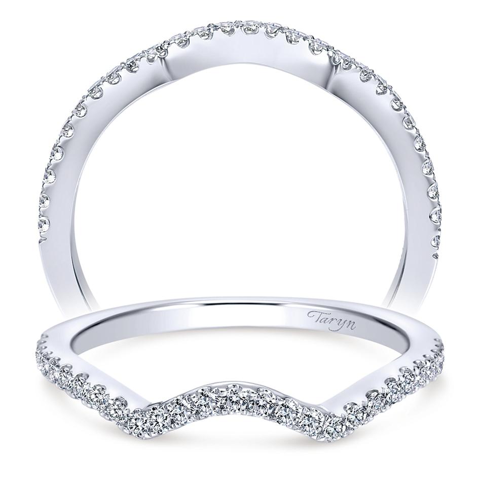 14 karat white gold curved wedding band