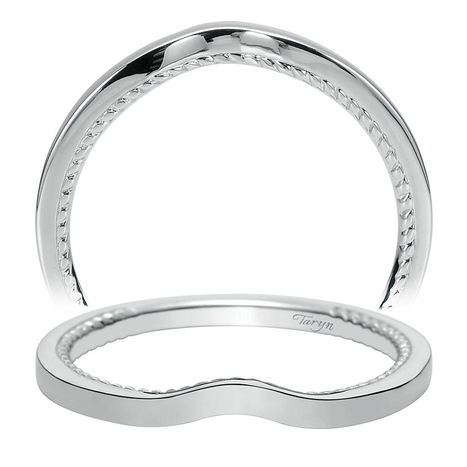 14 Karat Bands: Taryn 14 Karat White Gold Curved Wedding Band TW8729W4JJJ