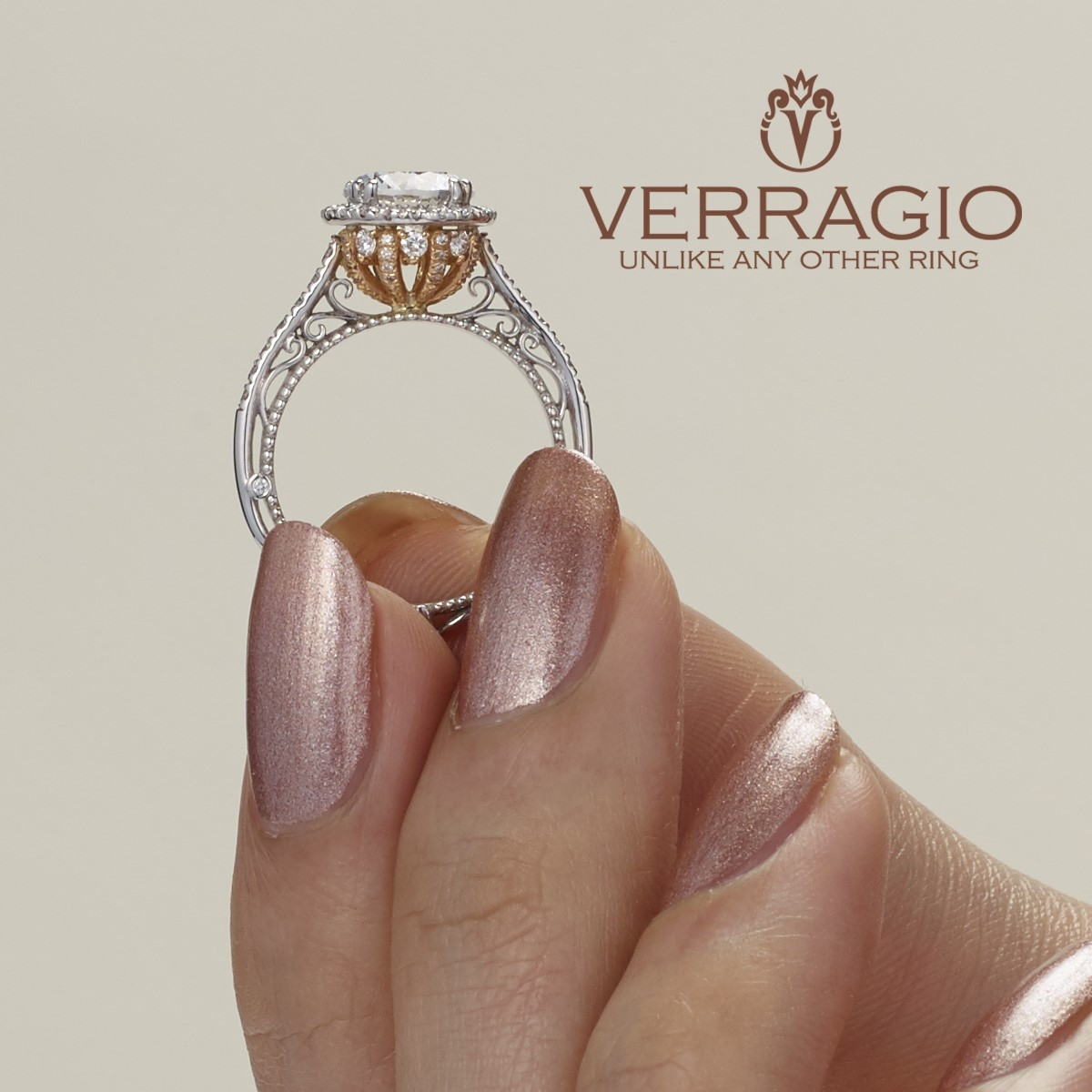 Verragio Venetian-5060R-TT Platinum Engagement Ring Alternative View 3