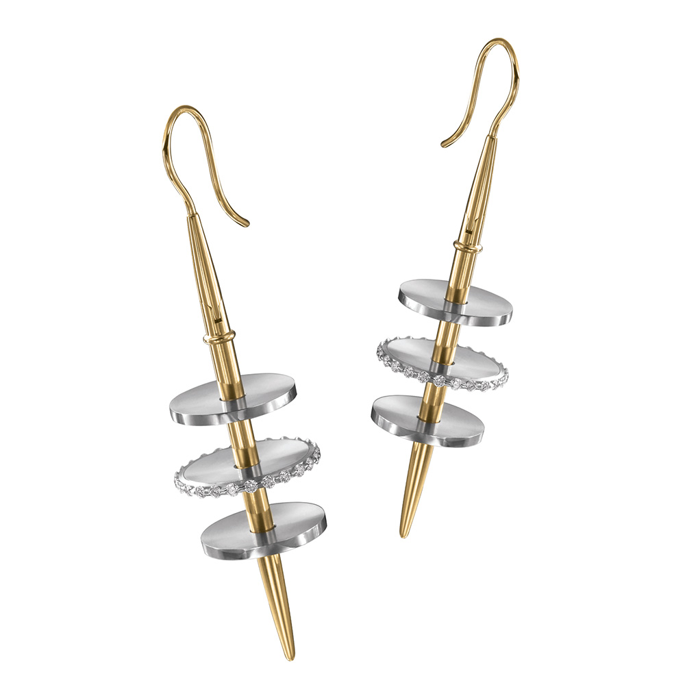 Kretchmer Platinum/18 Karat Venus Tension Set Earrings Alternative View 3