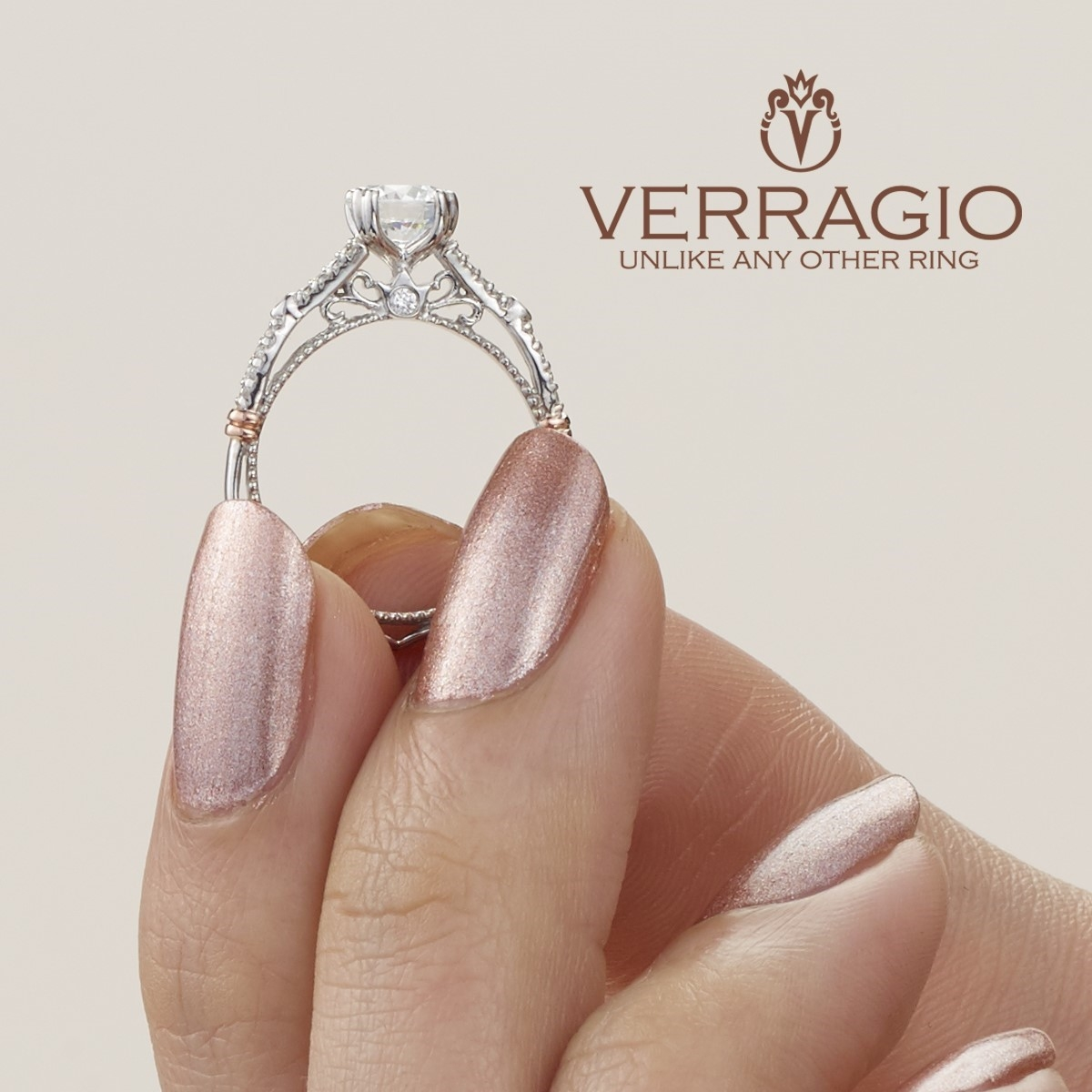 Verragio Parisian-102 Platinum Engagement Ring Alternative View 6