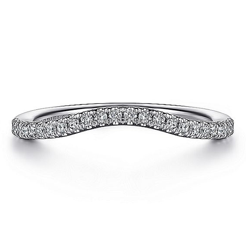 Gabriel 14 Karat White Gold Diamond Matching Wedding Band WB15609R4W44JJ