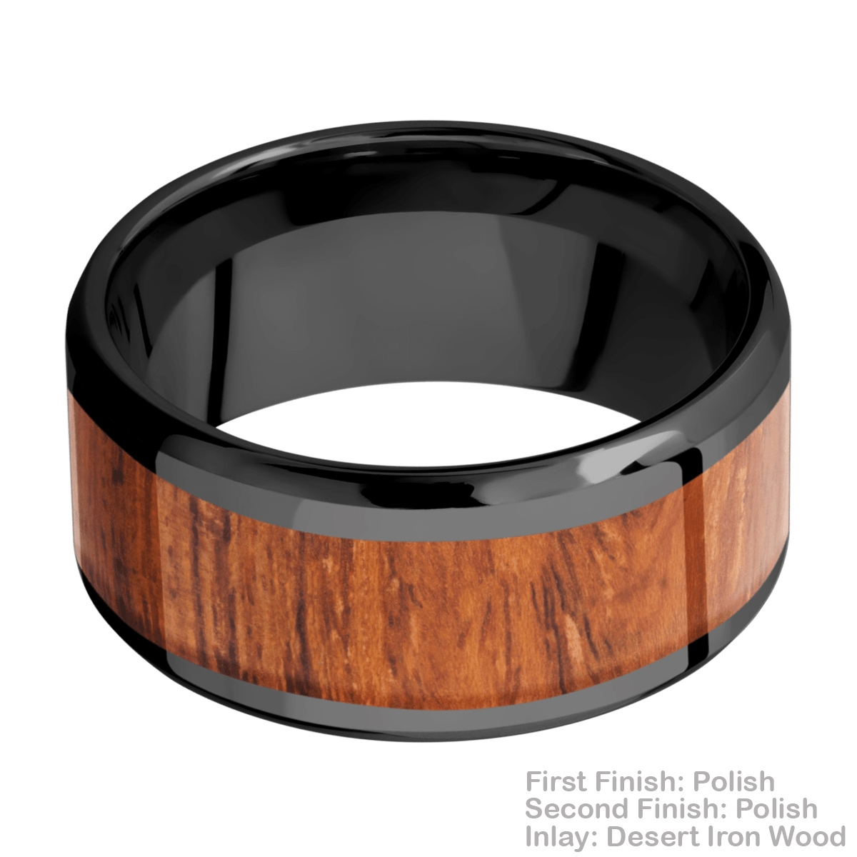 Lashbrook Z10B17(NS)/HARDWOOD Zirconium Wedding Ring or Band Alternative View 2