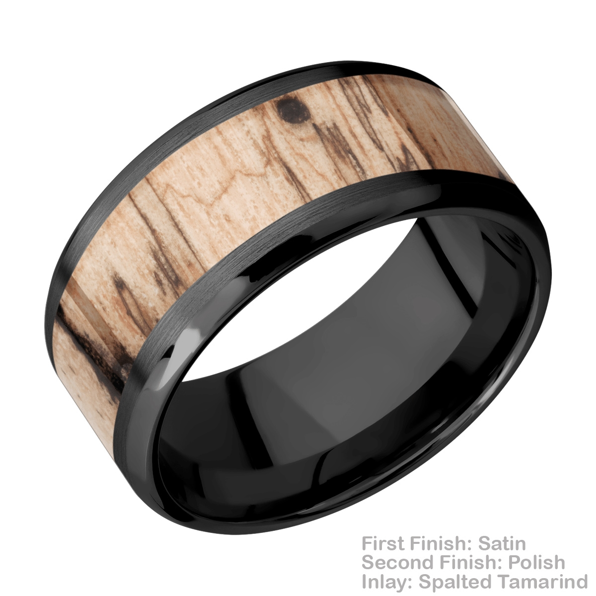 Lashbrook Z10B17(NS)/HARDWOOD Zirconium Wedding Ring or Band Alternative View 3