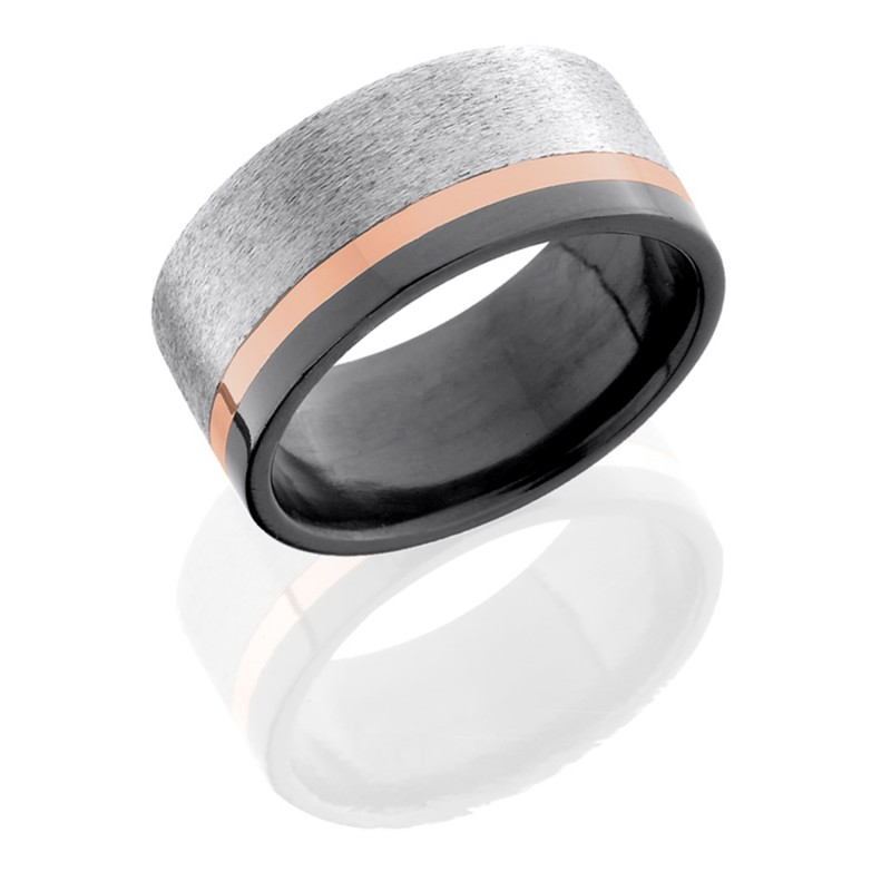 Lashbrook Z10F12OC/14KR STONE SILVER-POLISH Zirconium Wedding Ring or Band