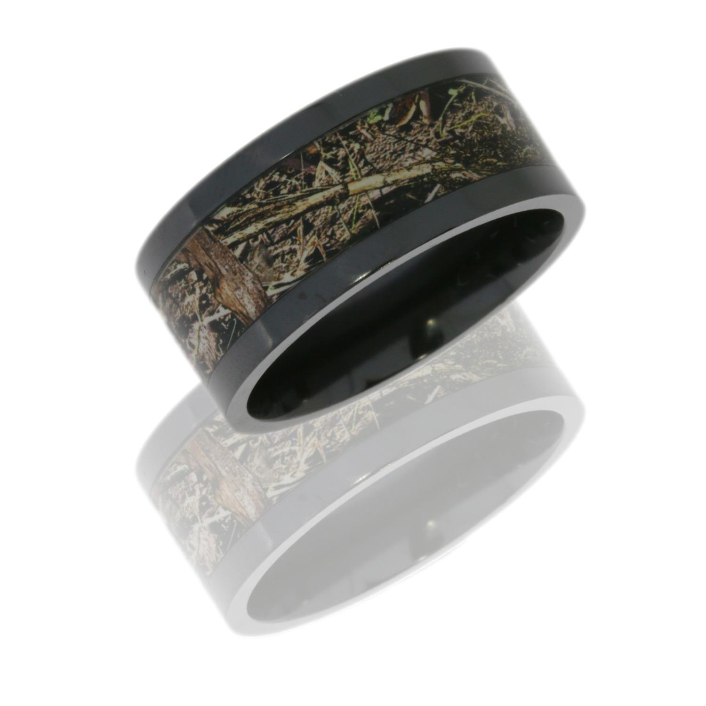 Lashbrook Z10F16/MOCDB POLISH Camo Wedding Ring Or Band