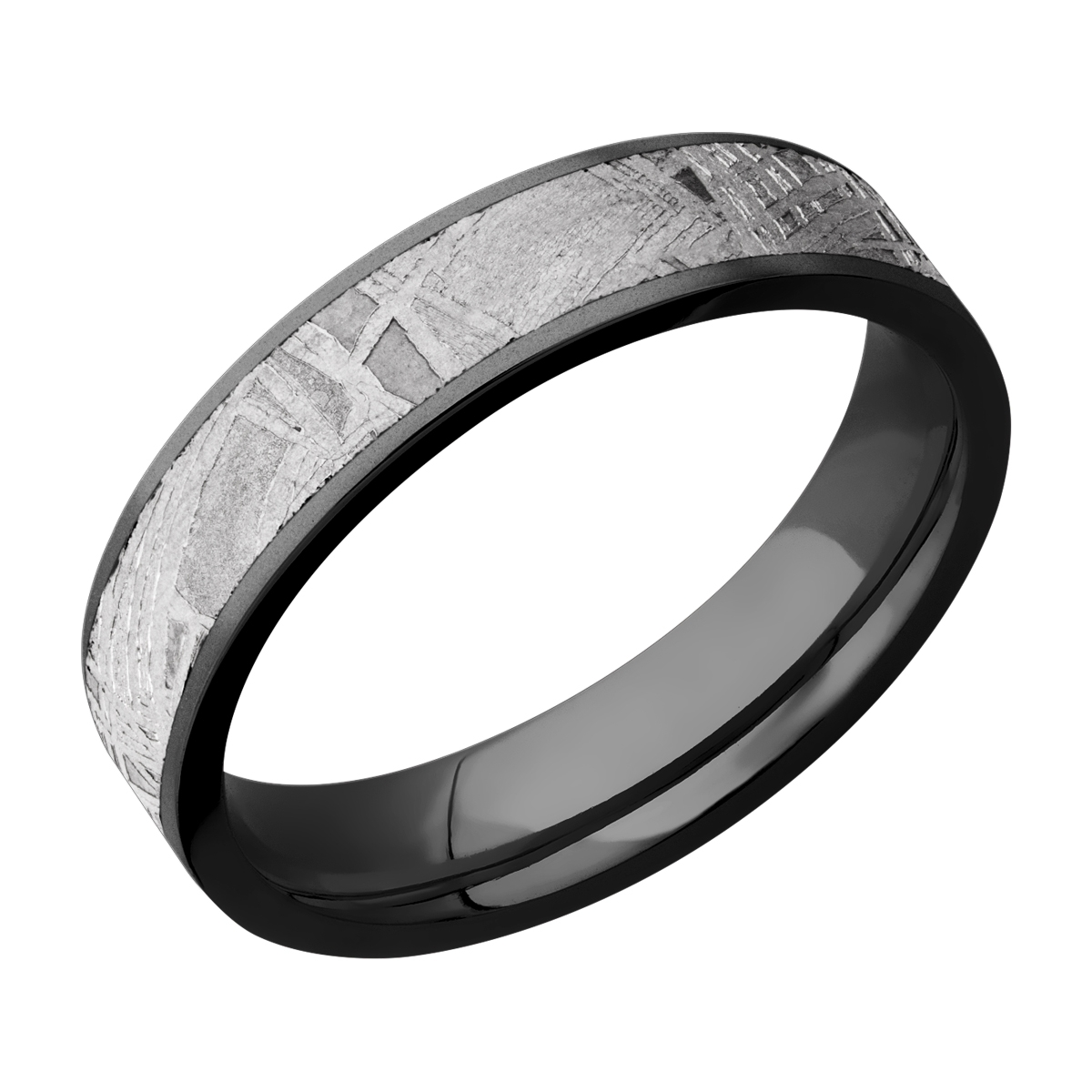 It is a graphic of Lashbrook Z44F44/METEORITE Zirconium Wedding Ring or Band