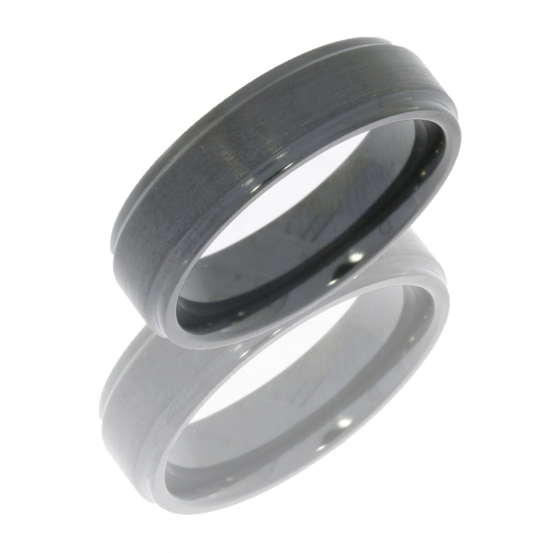 lashbrook z6fge satin zirconium wedding ring or