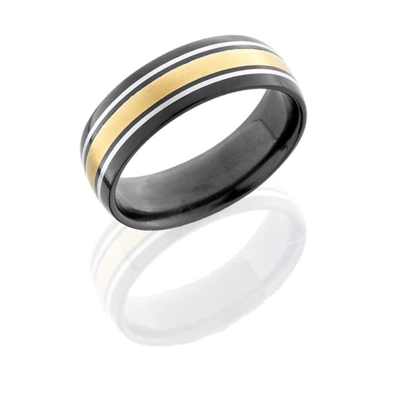 Lashbrook Z7d122 5 14kyss Satin Polish Zirconium Wedding Ring Or Band