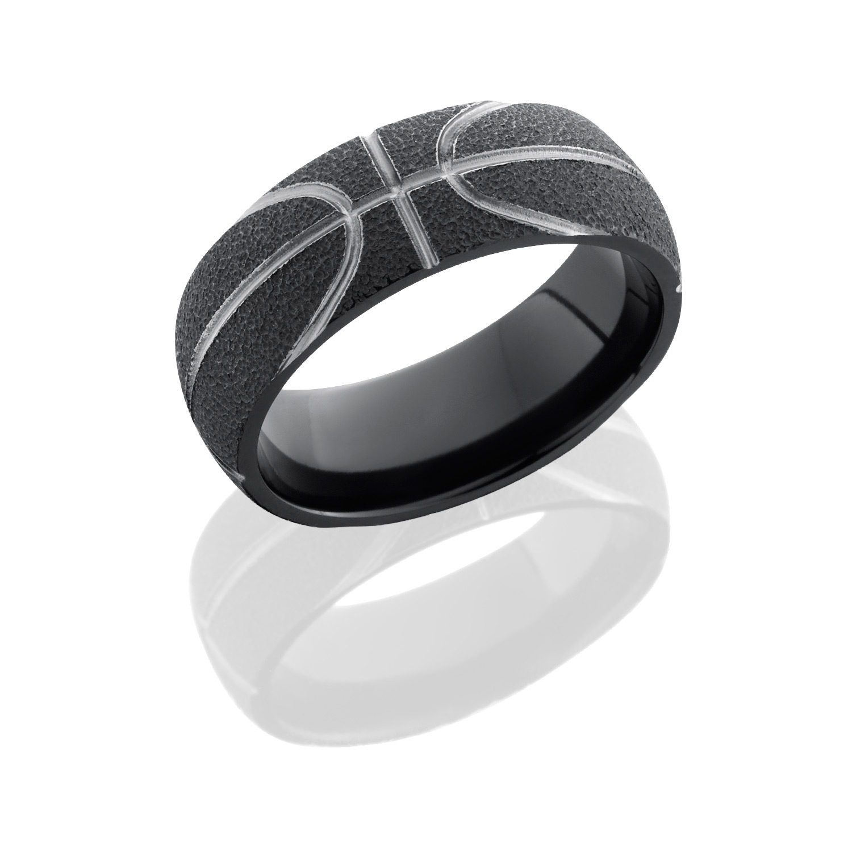 Lashbrook Z8DBASKETBALL STIPPLE Zirconium Wedding Ring or Band TQ