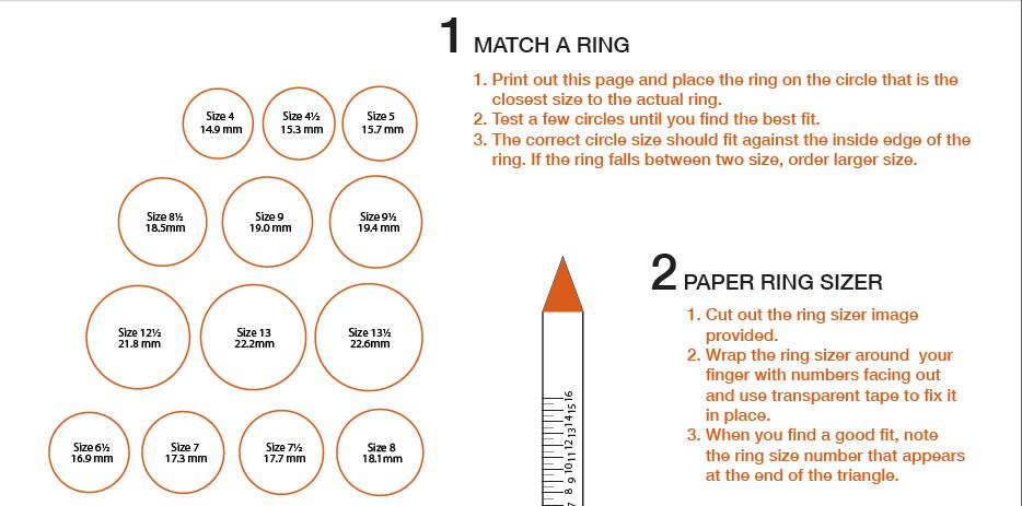photograph relating to Ring Sizer Online Printable known as Finger Measurement - Ring Dimension TQ Diamonds