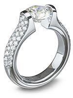 Steven Kretchmer Engagement Rings - Omega Round with 3-Row Pave