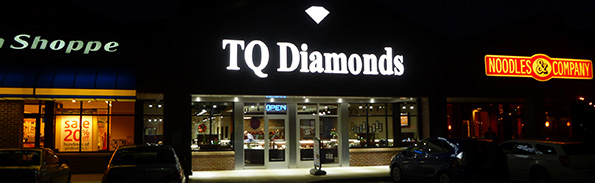 TQ Diamonds Storefront at Night