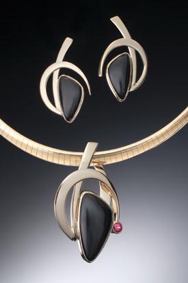 Onyx and Ruby Pendant & Earrings